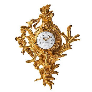 104. A Swedish Rococo 18th Century miniature wall clock by P Ramstedt Stockholm.