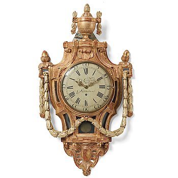 105. A Gustavian wall clock by Olof Ljungdahl (clockmaker Stockholm 1775-1780).