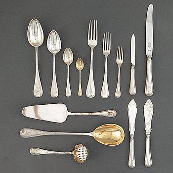 CG Hallberg m.fl, bestickuppsättning, 166 delar, silver + 36 i NS. Stockholm 1900-1921.