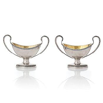 206. A pair of Swedish Gustavian parcel-gilt silver salt-cellars, mark of Arvid Floberg, Stockholm 1792.