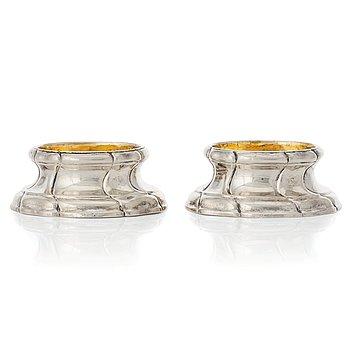 201. A pair of Swedish Rococo parcel-gilt silver salt-cellars, mark of Nils Orstedt, Norrköping 1779.
