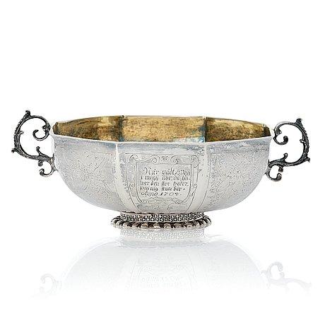A swedish baroque parcel-gilt silver brandy-bowl, mark of petter lund, nyköping 1703.