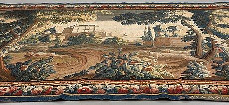 "A tapestry, ""verdure"", tapestry weave, ca 300-307 x 500,5-506 cm, signerad vit*m*r*d'aubvsson."