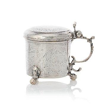 149. A Swedish late baroque parcel-gilt silver miniature tankard, mark possibly of Johan Wefwer (Linköping 1672-1705).