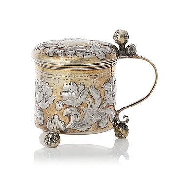 148. A Swedish Baroque parcel-gilt silver miniature tankard, mark of Johan Ståhle (Stockholm 1677-1687 (1694)).