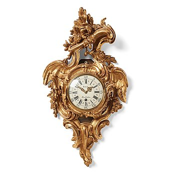 102. A Swedish Rococo l18th century wall clock by Petter Ernst (clockmaker in Stockholm 1753-1784).