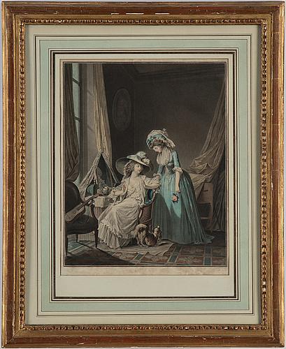 Niclas lafrensen d.y., after. engraver jean francois janinet. three colour engravings. i: 35.5 x 28 cm each.