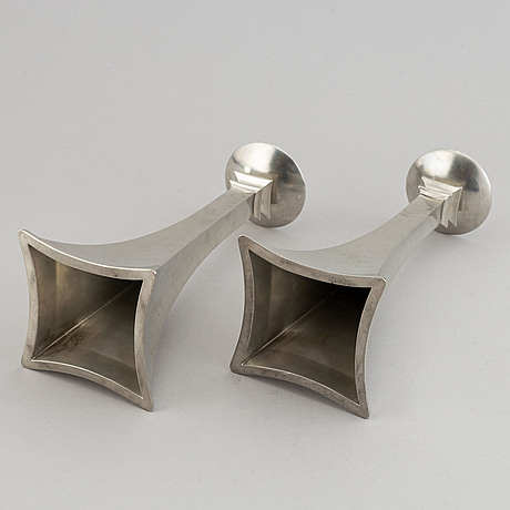 Just andersen, a pair of pewter candlesticks, denmark, 1920's-30's.