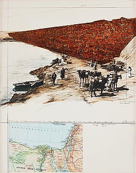 """426. Christo & Jeanne-Claude, """"Ten million oil drums wall, project for the Suez Canal""""."""