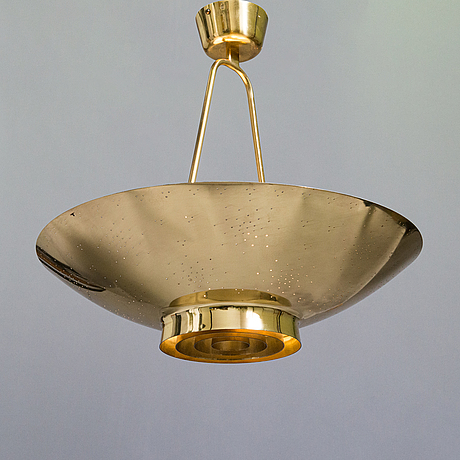 Paavo tynell,  a mid-20th-century '9060' brass pendant light for taito, finland.