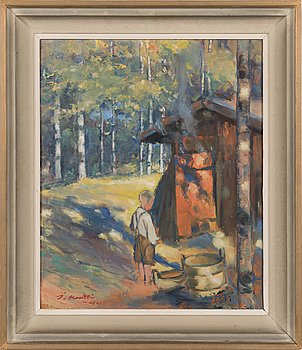 Ilmari Huitti, oil on board, signed and dated-44.
