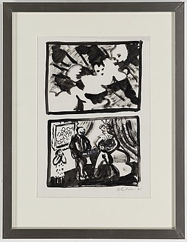 Peter Dahl, ink wash, signed and dated -75.