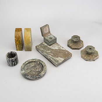 A seven pcs desktop set, marble first half of the 20th century.