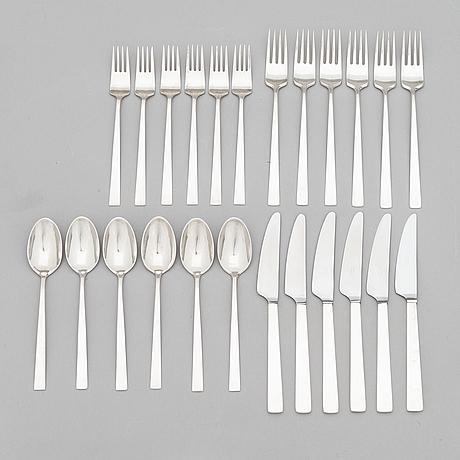 "Bertel gardberg, a 24-piece set of ""birgitta"" silver cutlery, marked bg, hopeatehdas oy, helsinki 1956-1964."