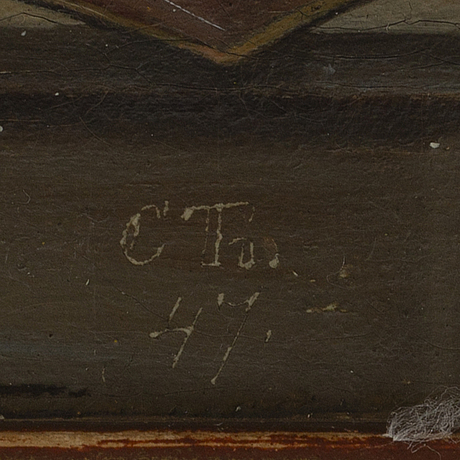 Christian thørrestrup, signed with initials. dated -47. oil on canvas 16 x 18 cm.