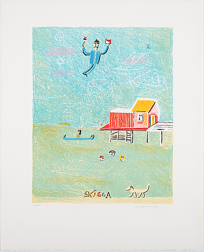 Madeleine pyk, portfolio with 4 (put of 6) lithographs in colour. signed and numbered 35/250.