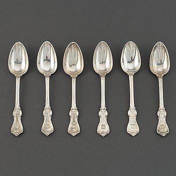 A set of six Swedish 19th century dessert-spoons, mark of Gustaf Möllenborg, Stockholm 1850-1854.