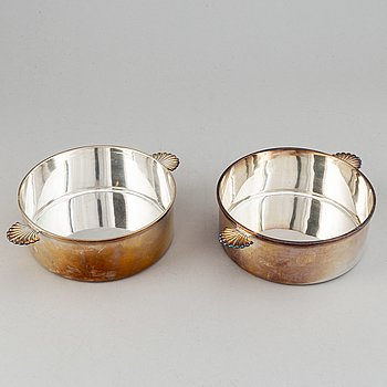 A pair of silverd dishes, marked Råström.