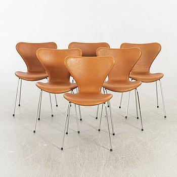 """Arne Jacobsen stolar, 6 st, """"Sjuan"""", Fritz Hansen, Danmark 1900-talets senare del."""