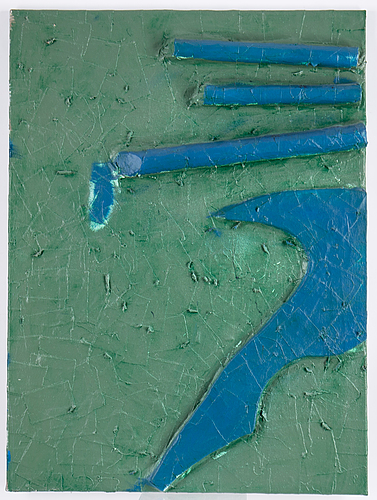 Stephen buckley, triptyk, mixed media on canvas, signed and dated 1985 verso.