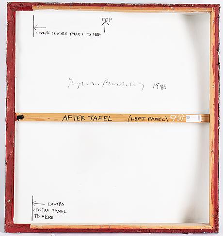 Stephen buckley, triptyk, blandteknik på duk, signerad och daterad 1985 a tergo.