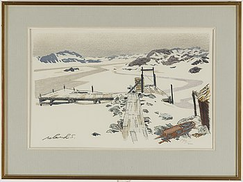 Roland Svensson, lithograph in colors, signed and numbered 190/200.