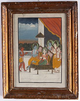 An unidentified artist, gouache with ink on paper. India, late 19th Century/early 20th century.