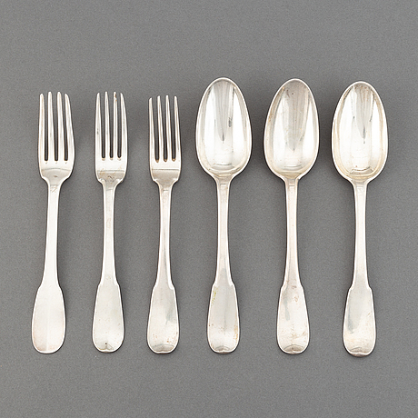 Six swiss silver table spoons and table forks (3+3), lausanne 18t century.