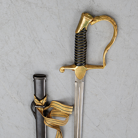 A swedish artillery officer's sword, 1889 pattern, with scabbard.