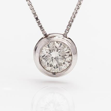 Kaulakoru, 18k valkokultaa, timantti n. 0.62 ct.
