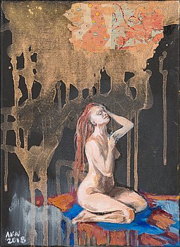 Anna Kaarina Nenonen, oil and collage on canvas, signed and dated -18.