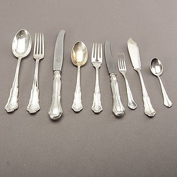 A Swedish 20th century 96 pcs of silver cutlery, different makers and dates, total weight ca 4820 gr.