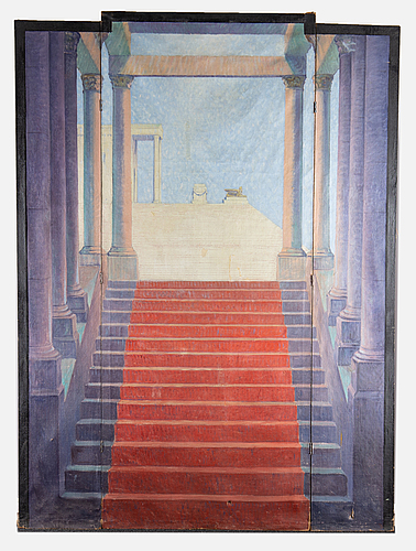 Theatrical scenery, 3 parts, oil on canvas, early 20th century.