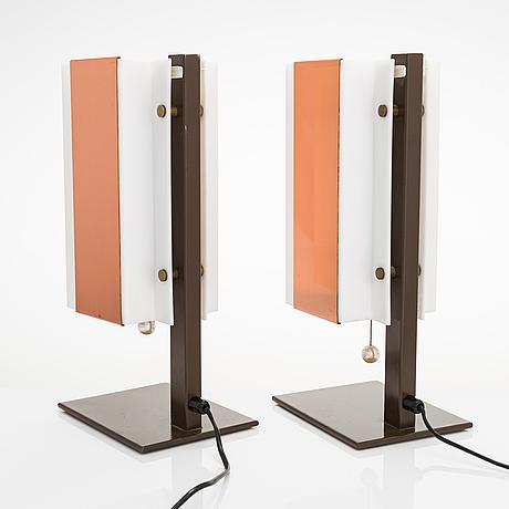 Lars-gunnar nordström, a pair of 1970's table lamps for metallimestarit.