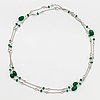 Emerald bead and white topaz necklace.