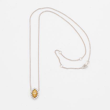 Yellow navette-cut diamond and brilliant-cut diamond necklace.