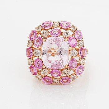 Kunzite, pink sapphire and brilliant-cut diamond ring.