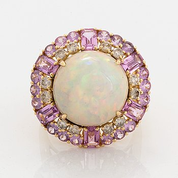 Opal, pink sapphire and brilliant-cut diamond ring.