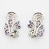 Peridot, sapphire and brilliant-cut diamond earrings.