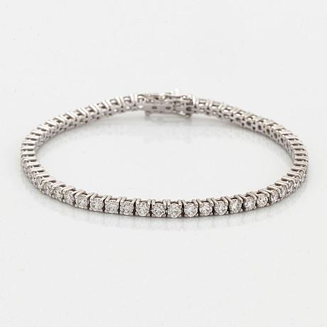 Tennis bracelet with brilliant-cut diamonds, with certificate hrd.