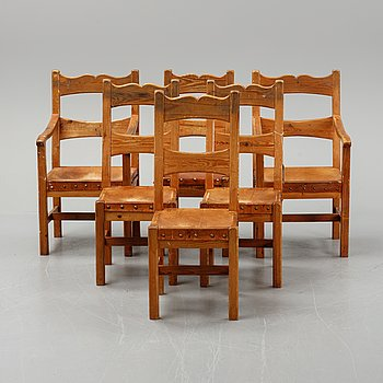 Six pine chairs, mid 20th Century.