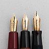 Parker, fountain pens 3 pcs, 14 k-gold nibs, usa.