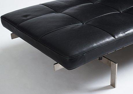 "Poul kjaerholm, a ""pk-80"" black leather and steel base daybed, edition fritz hansen, 2013."