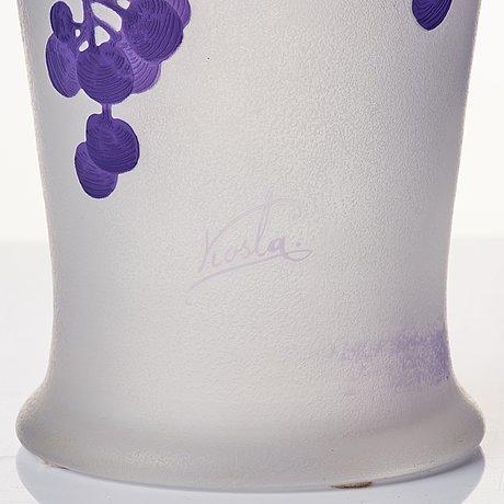 Karl lindeberg, an art nouveau cameo glass vase, kosta sweden.
