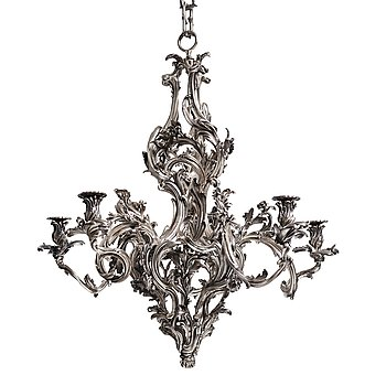 74. A highly important and rare Louis XV silvered brass five-light chandelier  attributed to Pierre Boulanger, Paris c 1750.