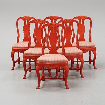 Six painted Rococo style chairs, mid 20th Century.