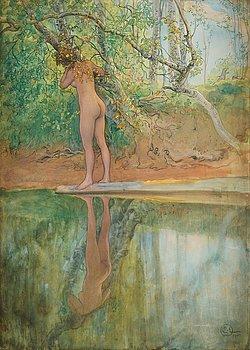 "580. Carl Larsson, ""Leontine, naken vid stranden"" (Leontine, nude by the beach)."