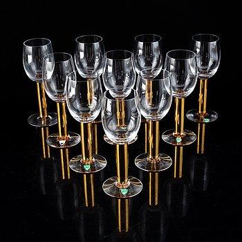 "Gunnar Cyrén, 10 wine glasses, ""Nobel"", Orrefors."