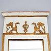 Spegel, 1800-tal, empire, signerad j. stork, johan stork, kalmar (1788-1846), troligen hallstämplad.