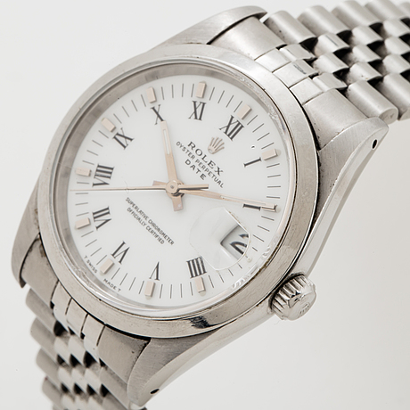 Rolex, oyster perpetual date, chronometer, wristwatch, 34 mm.